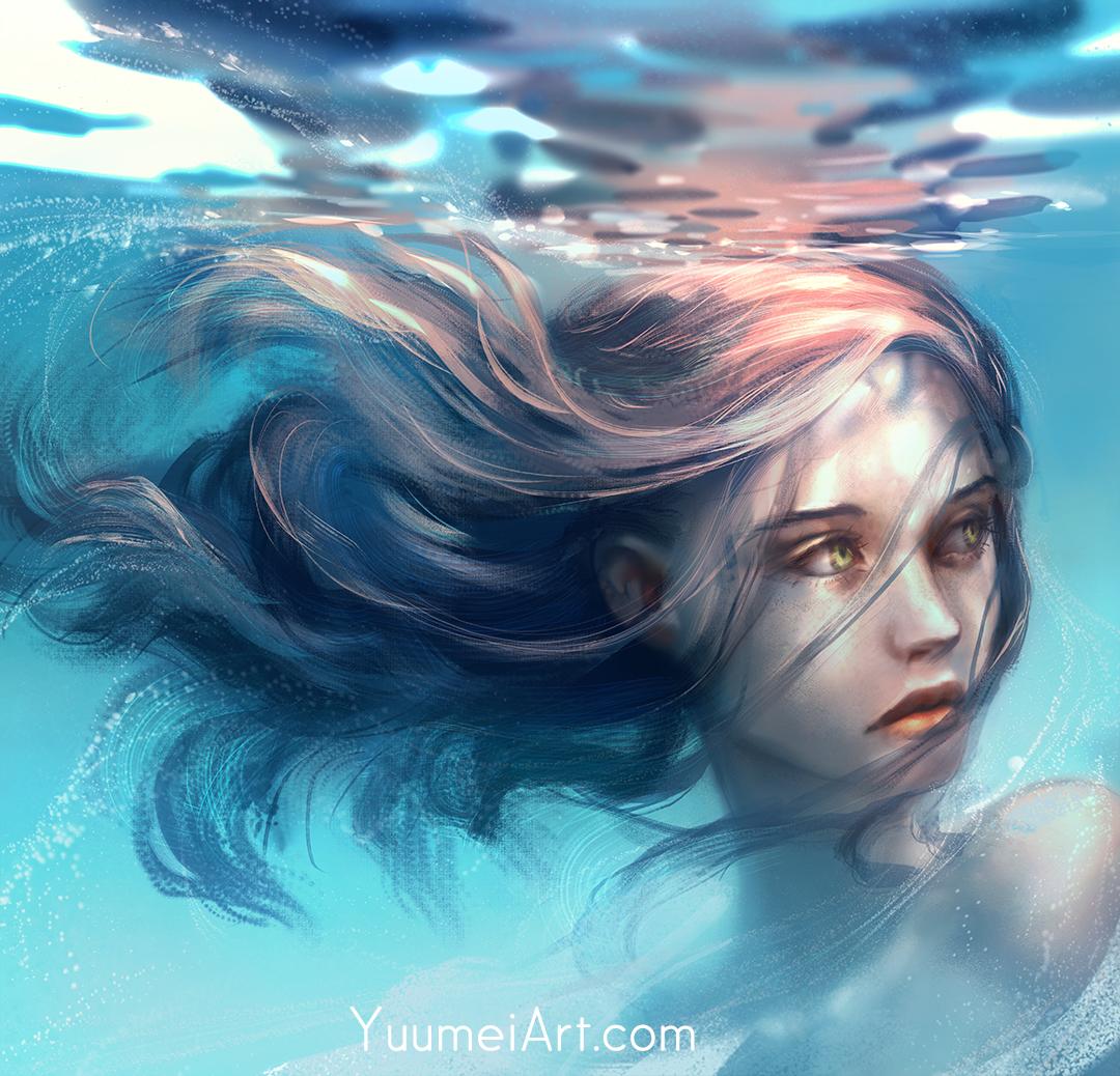 Нарисованные девушки в воде