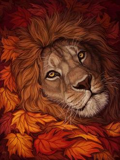 Фото Морда льва в окружении осенних листьев, by DeyVarah