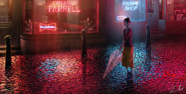 Фото Девушка на вечерней лице города под дождем, by Tamaki