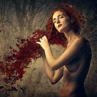 Фото Девушка с развевающимися листьями волосами