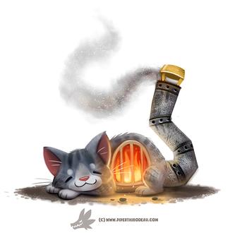 Фото Серый кот печка с трубой хвостом с которого идет дым, by Cryptid-Creations