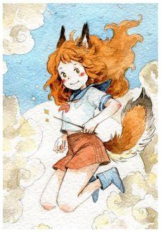 Фото Девочка-лисичка с волшебной палочкой в руке в облаках