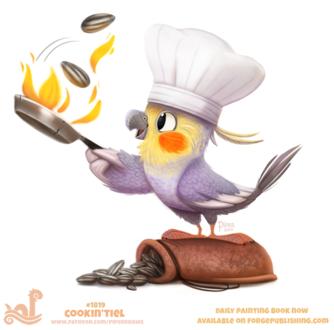 Фото Попугайчик повар жарит семечки, by Cryptid-Creations