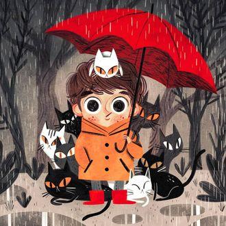 Фото Мальчик с зонтом и котятами под дождем, by David Sierra