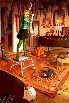 Фото Девушка украшает комнату к Хэллоуину, ее котенок играет с гирляндой, художница, иллюстратор Yaoyao Ma Van As / Яояо Ма Ван Ас