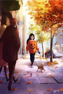 Фото Девушка гуляет со своей собакой, художница Yaoyao Ma Van As