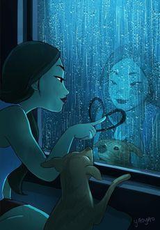 Фото Пес наблюдает, как его хозяйка рисует на окне, за которым идет дождь, сердечко, художница, иллюстратор Yaoyao Ma Van As / Яояо Ма Ван Ас