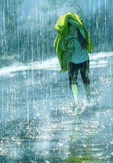 Фото Девушка со своим псом бегут под дождем