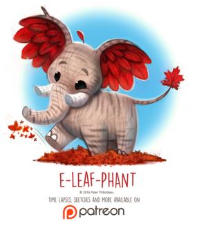 Фото Деревянный слон с красными листьями, by Cryptid-Creations