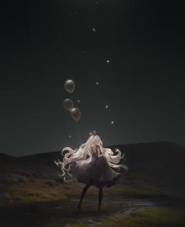 Фото Девушка с воздушными шариками стоит в воде на фоне ночного неба, с которого падают звезды. by cinkai
