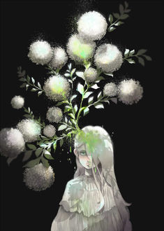 Фото Из головы девушки растут белые цветы