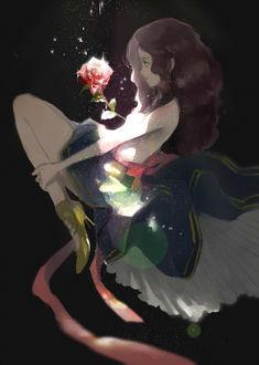 Фото У девушки из груди растет роза
