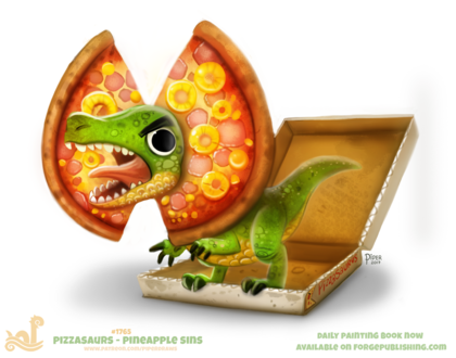 Фото Динозаврик с пиццей, by Cryptid-Creations