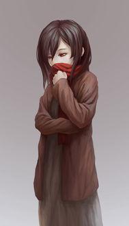 Фото Задумчивая девочка с красными глазами