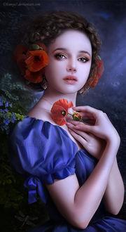 Фото Грустная девушка с маками в волосах и сережками на фоне цветов и стрекозы (by ENNE)