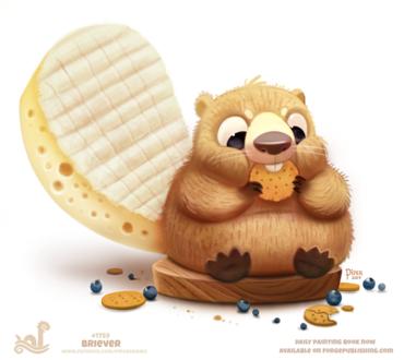 Фото Бобер с сырным хвостом ест печенку, by Cryptid-Creations