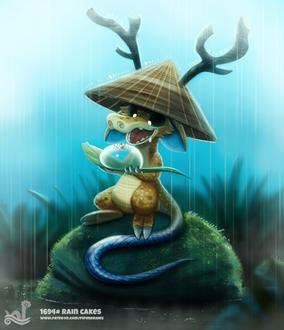 Фото Дракоша в китайской шапке под дождем держит лист с огромной каплей росы, by Cryptid-Creations