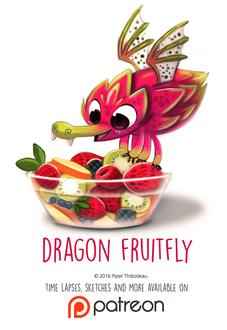 Фото Фруктовый дракон на фрукте, которое лежат в прозрачной миске, by Cryptid-Creations