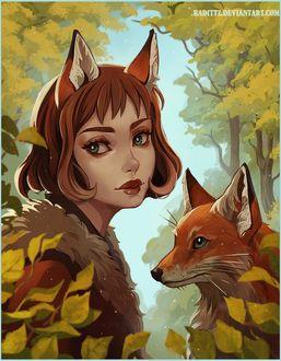 Фото Девочка в образе лисички и лиса на фоне природы, by Radittz