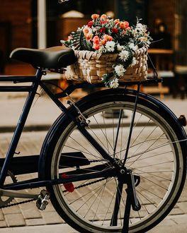 Фото Корзина с цветами на велосипеде, by fisildayansair
