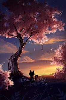 Фото Котенок сидит у дерева на фоне заката, by leamatte
