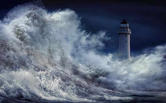Фото Маяк на фоне пенных волн океана, by nikos Bantouvakis