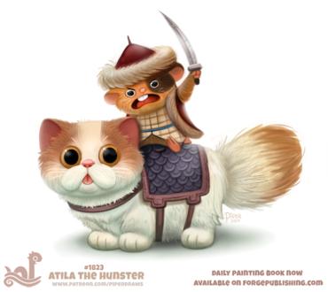 Фото Хомяк в наряде и мечом сидит на бело-рыжем коте, by Cryptid-Creations