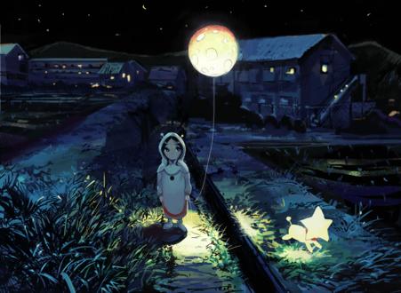 Фото Девочка с луной на веревочке и собака-звезда на ночной улице