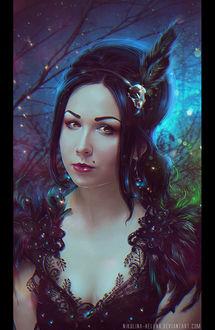 Фото Темноволосая девушка с пером в волосах на фоне ночного неба среди деревьев, by Nikulina-Helena