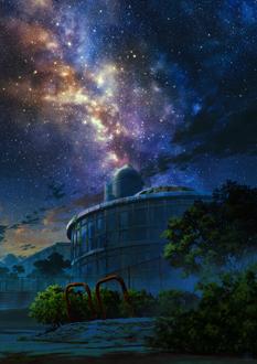 Фото Заброшенное строение на фоне ночного неба и млечного пути, by mocha