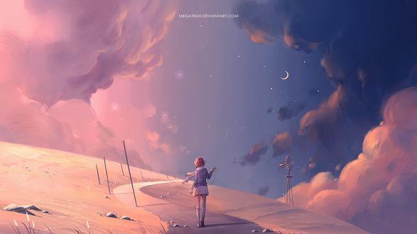 Фото Девушка в наушниках идет по дороге на фоне ночного неба, by megatruh