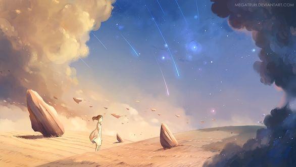 Фото Девушка стоит в траве под облачным небом, где день встречается с ночью, by megatruh