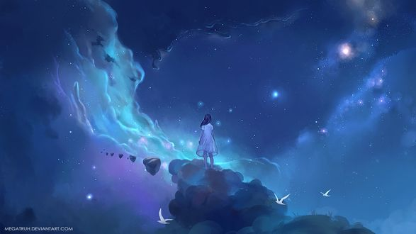 Девушка стоит на облаке в ночном небе, by megatruh