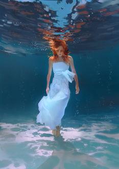 Фото Девушка в белом платье под водой