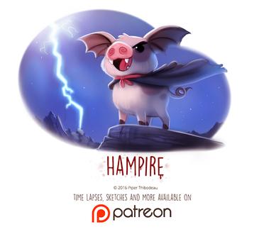Фото Свинка-вампир на склоне под ночным небом, by Cryptid-Creations