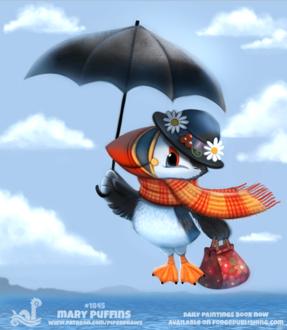 Фото Птица с черным зонтом, шарфом и сумочкой, шляпке летит в небе, by Cryptid-Creations