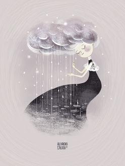 Фото Девушка с волосами в виде облака, by Alexandra Dikaia