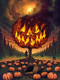 Фото Парень стоит у дерева с горящими ветками под мрачным облачным небом, by Ascending-Storm