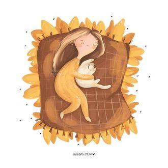 Фото Девочка спит с котенком, by Unukovich Polina