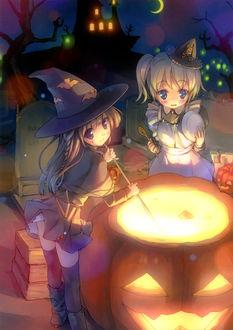 Фото Две маленькие ведьмочки варят зелье для Halloween ночью на кладбище, by Takoyaki