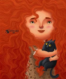 Фото Рыжеволосая девочка обнимает кошку, иллюстратор Карина Лемешева