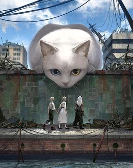 Фото Огромная кошка смотрит на детей, один из которых демон