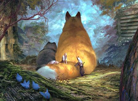 Фото Трое детей, один из которых демон, трогают хвост огромной лисы