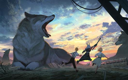 Фото Стая огромных волков и трое детей, один из которых демон, среди обломков