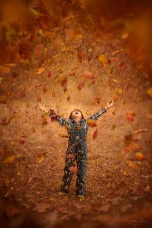 Фото Радостный мальчик под листопадом. Фотограф Jessica Drossin