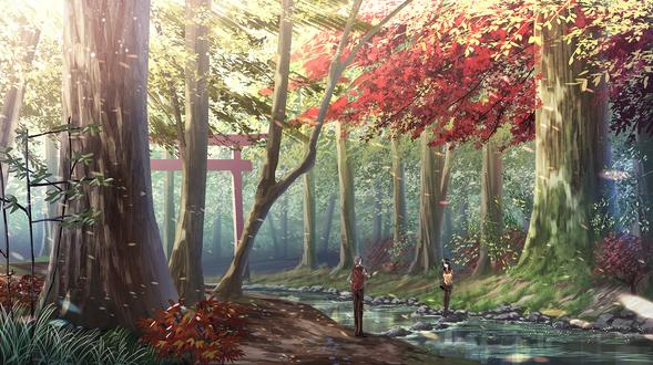 Фото Парень и девушка стоят на разных берегах реки, by Yuu