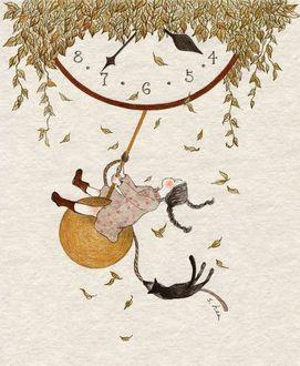 Фото Девочка с кошкой качается на маятнике часов, художник под ником Зеленый плющ
