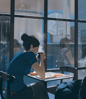 Фото Девушка завтракает в одиночестве в кафе, art by snatti