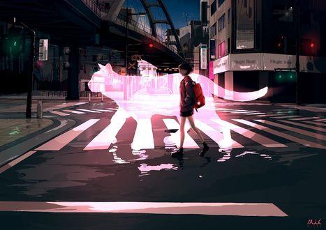Фото Девушка идет по пешеходной дорожке рядом с силуэтом кота
