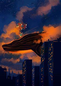 Фото Девочка с воздушными шарами в облачном небе стоит на парящем ките над городом, by Jedit